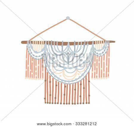 Handmade Macrame Wall Flat Vector Illustration. Beautiful Handwork With Elegant Ornament. Stylish Ro
