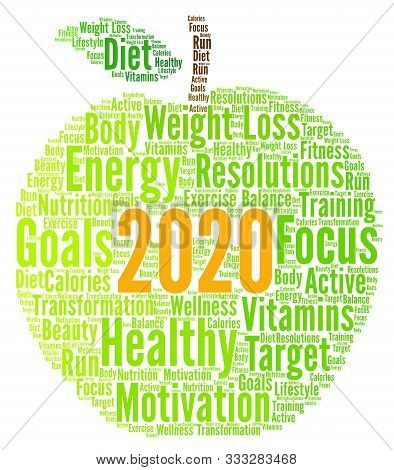 Healthy Resolutions 2020 Word Cloud With A White Background