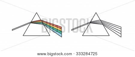 Light Dispersion And Refraction Effect Linear Vector Icon. Dispersive Prism, Glass Pyramid, Triangul