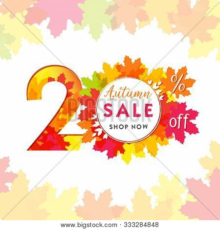 20 Autumn Red Logotype. Colorful Foliage, Frame And White Paper Background. Calendar Numbers Idea. 2