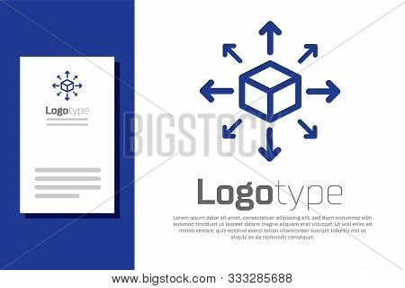 Blue Distribution Icon Isolated On White Background. Content Distribution Concept. Logo Design Templ