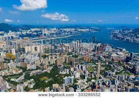 Hong Kong island, Hong Kong 06 September 2019: Top view of the Hong Kong island side