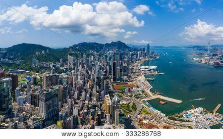 Wan Chai, Hong Kong 03 September 2019: Drone fly over Hong Kong city