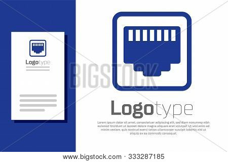 Blue Network Port - Cable Socket Icon Isolated On White Background. Lan, Ethernet Port Sign. Local A