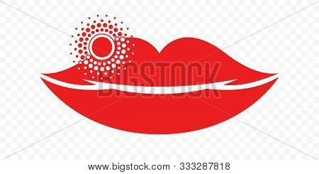 Lips Herpes Cold Sore Inflammation Vector Icon. Labial Herpes Simplex Infection Symbol For Medicine