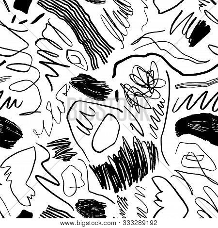 Squiggles And Scrawls Hand Drawn Seamless Pattern. Chaotic Shapes And Curve Lines Doodle Drawing. In