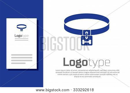 Blue Dog Collar With Name Tag And Bone Plaque Icon Isolated On White Background. Supplies For Domest