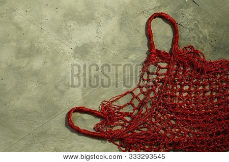 Red, Empty, Wicker Bag-string Bag For Carrying