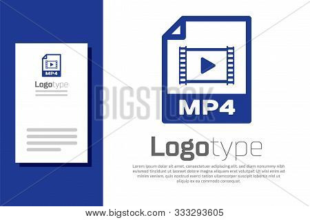 Blue Mp4 File Document. Download Mp4 Button Icon Isolated On White Background. Mp4 File Symbol. Logo