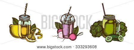 Smoothies Set Of Colored Lemons, Broccoli, Radish, Basil, Smoothie Cup, Smothie Jars, Cucumber Stock