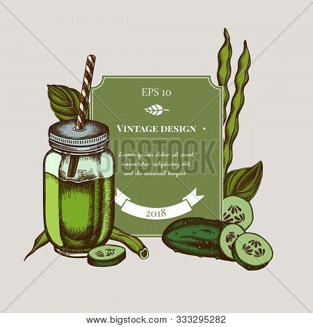 Badge Design With Colored Green Beans, Basil, Smothie Jars, Cucumber Stock Illustration