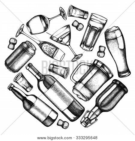 Round Design With Black And White Glass, Champagne, Mug Of Beer, Alcohol Shot, Bottles Of Beer, Bott