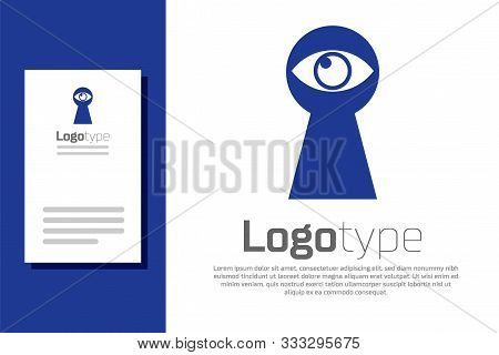 Blue Keyhole With Eye Icon Isolated On White Background. The Eye Looks Into The Keyhole. Keyhole Eye
