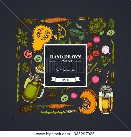 Square Design On Dark Background With Lemons, Broccoli, Radish, Green Beans, Cherry Tomatoes, Beet,