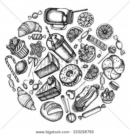 Round Design With Black And White Cinnamon, Macaron, Lollipop, Bar, Candies, Oranges, Buns And Bread
