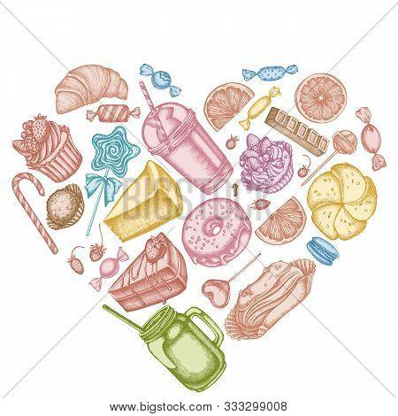 Heart Design With Pastel Cinnamon, Macaron, Lollipop, Bar, Candies, Oranges, Buns And Bread, Croissa