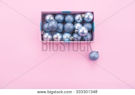 Christmas Composition. Christmas Balls, Pink And Blue Decorations On Pink Background. Christmas Gift