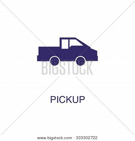 Pick Up Element In Flat Simple Style On White Background. Pick Up Icon, With Text Name Concept Templ