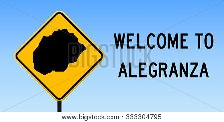 Alegranza Map Road Sign. Wide Poster With Island Outline On Yellow Rhomb Signboard. Vector Illustrat