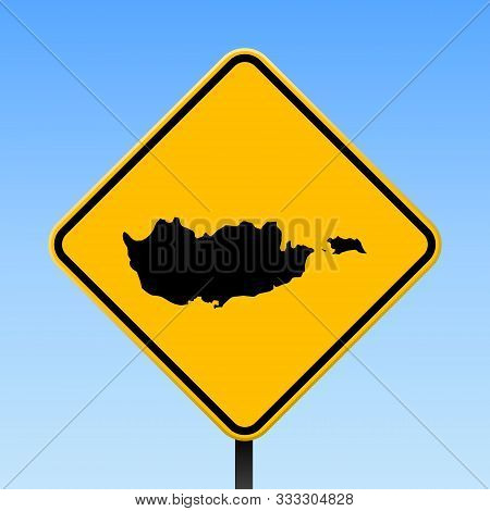 Cyprus Map Road Sign. Square Poster With Country Outline On Yellow Rhomb Signboard. Vector Illustrat