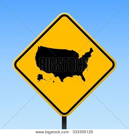 Usa Map Road Sign. Square Poster With Country Outline On Yellow Rhomb Signboard. Vector Illustration