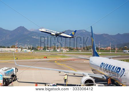 Bergamo, Italy - October 26, 2019: Ryanair plane takes off on Bergamo Airport in Italy. Ryanair is the biggest low-cost airline company in Europe.