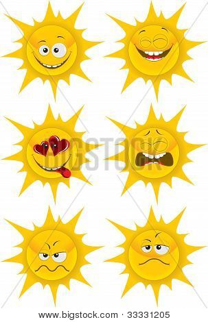 set of cute cartoon sun emotions for web-design graphic design and mobile weather gadget. isolated on white grouped separately poster
