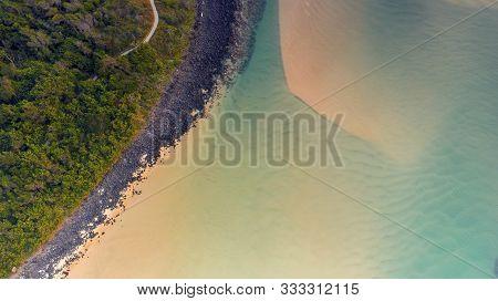 Aerial Top Down View Over Tallebudgera Creek And Burleigh Headland Coastline