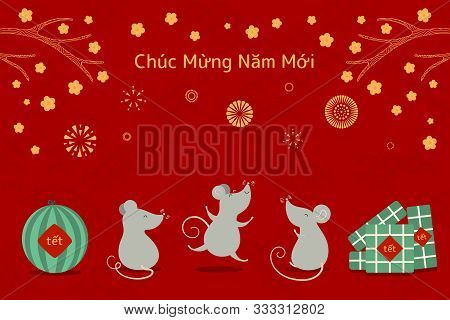 Hand Drawn Vector Illustration For Tet With Cute Rats, Rice Cakes, Watermelon, Apricot Flowers, Fire