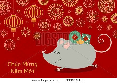 Hand Drawn Vector Illustration For Tet With Cute Rat Carrying Rice Cake, Watermelon, Gold, Fireworks