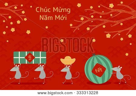 Hand Drawn Vector Illustration For Tet With Cute Rats Carrying Rice Cake, Watermelon, Gold, Apricot