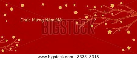 Hand Drawn Vector Illustration For Tet With Yellow Apricot Or Peach Tree Branch, Vietnamese Text Hap