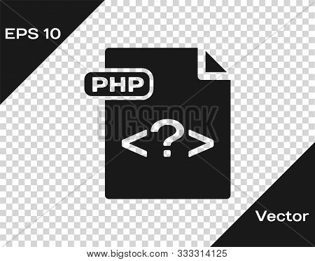 Grey Php File Document. Download Php Button Icon Isolated On Transparent Background. Php File Symbol