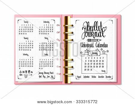 Bullet Journal Universal Calendar. Hand Written Calendar, Names Of Months And Days Of Week. Bullet J