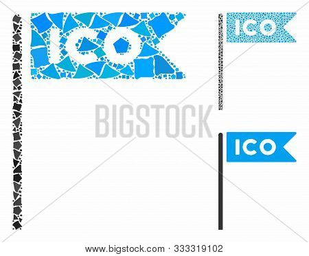 Ico Flag Mosaic Of Ragged Pieces In Variable Sizes And Color Hues, Based On Ico Flag Icon. Vector Ra