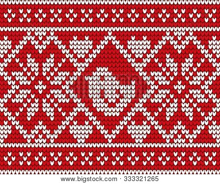 Christmas Embroidery Decorated By Bird And Flower. Knitwear With Pattern In White Color. Xmas Postca
