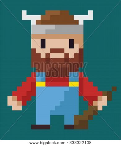 Pixel Art Character Vector, Isolated Viking Holding Weapon Made Of Wood Flat Style Icon From 8bit Ga