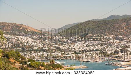 Bodrum, Turkey - September 29, 2019: Boats And Yachts In The Harbor Of Bodrum Turkey