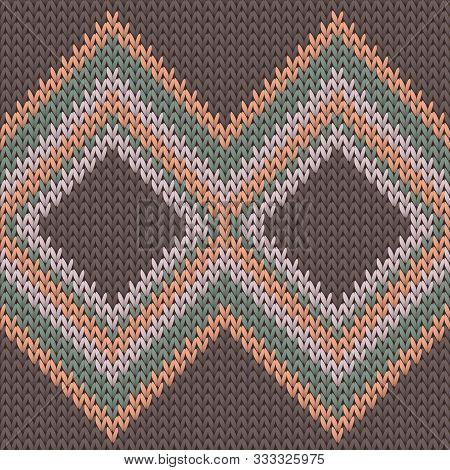 Cozy Rhombus Argyle Knitting Texture Geometric Vector Seamless. Jumper Stockinet Ornament. Fashionab