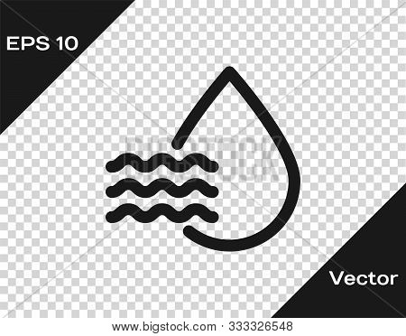Grey Water Drop Percentage Icon Isolated On Transparent Background. Humidity Analysis. Vector Illust