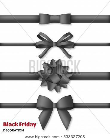 Collection Of Decorative Black Bows With Horizontal Dark Ribbons. Black Friday Decoration