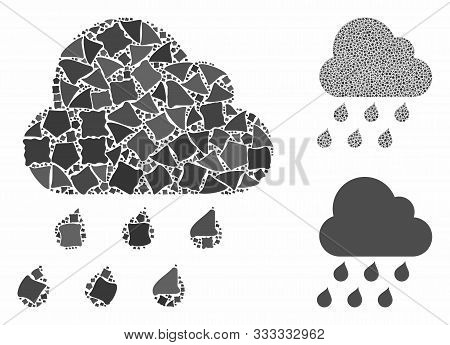 Rain Cloud Mosaic Of Abrupt Pieces In Different Sizes And Color Tints, Based On Rain Cloud Icon. Vec