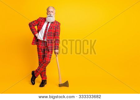 Full Length Photo Of Cool Aged Guy White Beard Holding Ax Hands Play Serial Killer Character At Hall