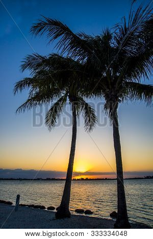 Summer Sunset On The Sea  In Sarasota,florida,usa