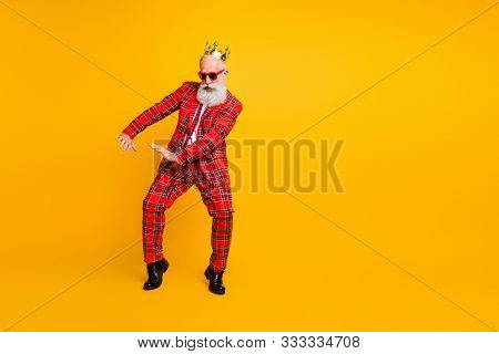 Full Body Photo Of Funny Grandpa White Beard Dancing Strange Youngster Moves Little Drunk Wear Crown