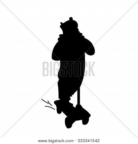 Girl In Jumpsuit Riding A Scooter. Black Silhouette Isolated On White Background. Front View. Monoch