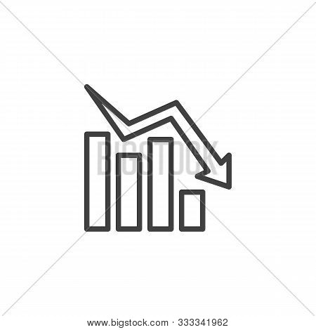 Declining Graph Line Icon. Negative Graph Statistics Linear Style Sign For Mobile Concept And Web De