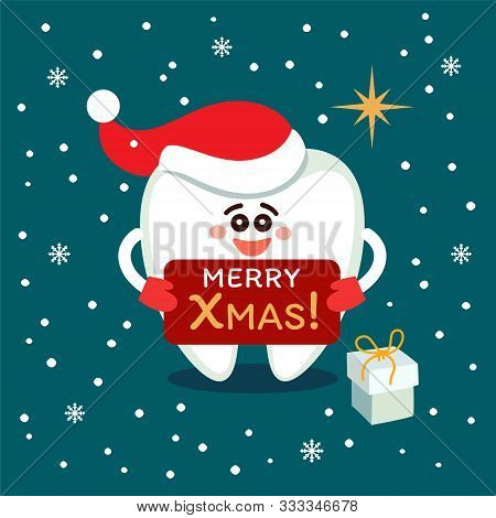 Smiling Cartoon Tooth In Santa Hat With Plate And Present Box. Merry Christmas! Greeting From Dentis