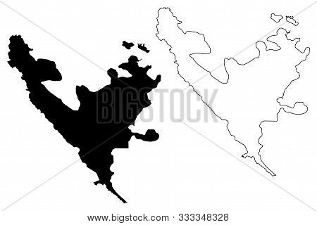 Federation Of Bosnia And Herzegovina (bih, Bosnia-herzegovina) Map Vector Illustration, Scribble Ske