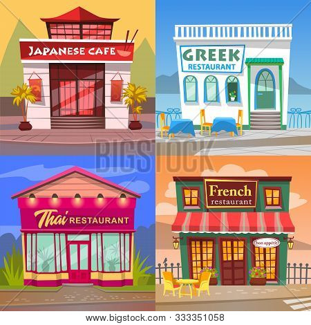 Thai And French Cuisine Vector, Greek And Japanese Restaurant Diner Facade. Buildings In Orient Styl